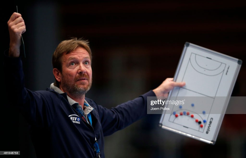 Head coach Martin Schwalb of Hamburg gestures during the Velux EHF Champions League Round of 16 2nd leg match between HSV Hamburg and HC Vardar Pro...