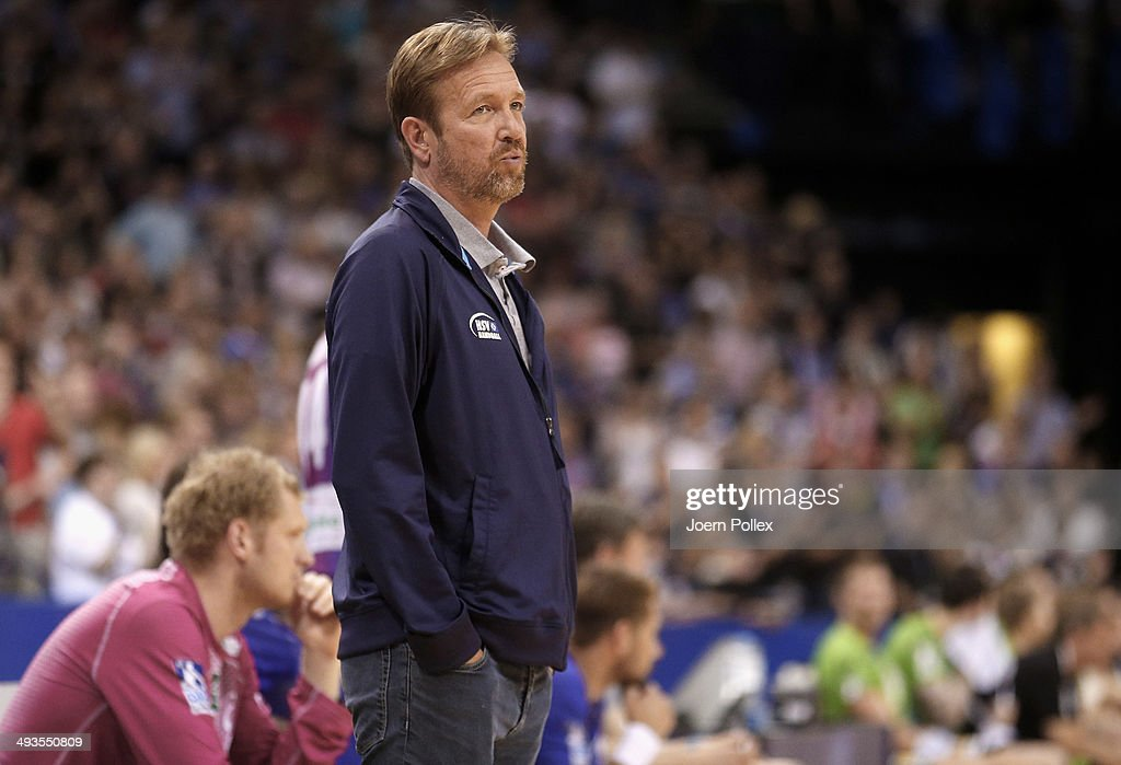 Head coach Martin Schwalb of Hamburg looks on during the Bundesliga handball match between HSV Handball and TV Emsdetten at O2 World on May 24 2014...