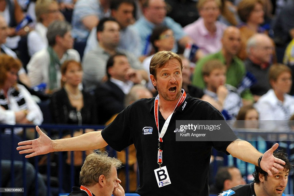 Head coach Martin Schwalb of Hamburtg reacts during the Bundesliga match between HSV Hamburg and THW Kiel at the Color Line Arena on May 22 2010 in...