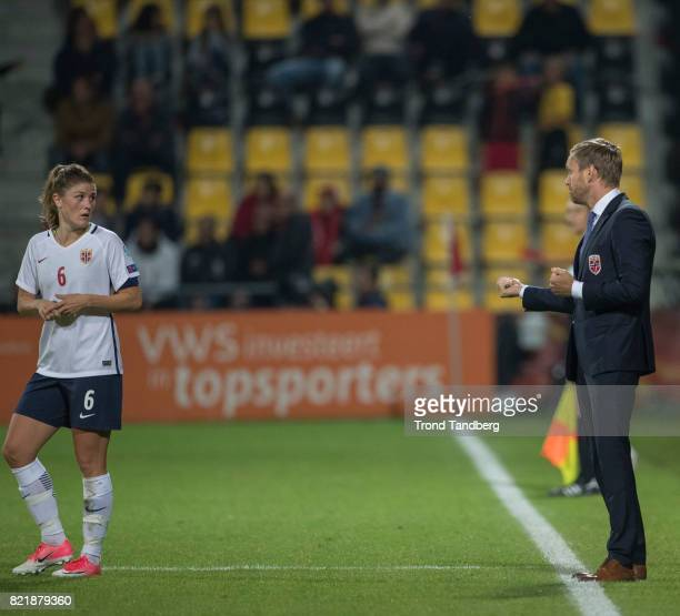 Head Coach Martin Sjoegren Maren Mjelde of Norway during the UEFA Womens«s Euro between Norway v Denmark at Stadion De Adelaarshorst on July 24 2017...