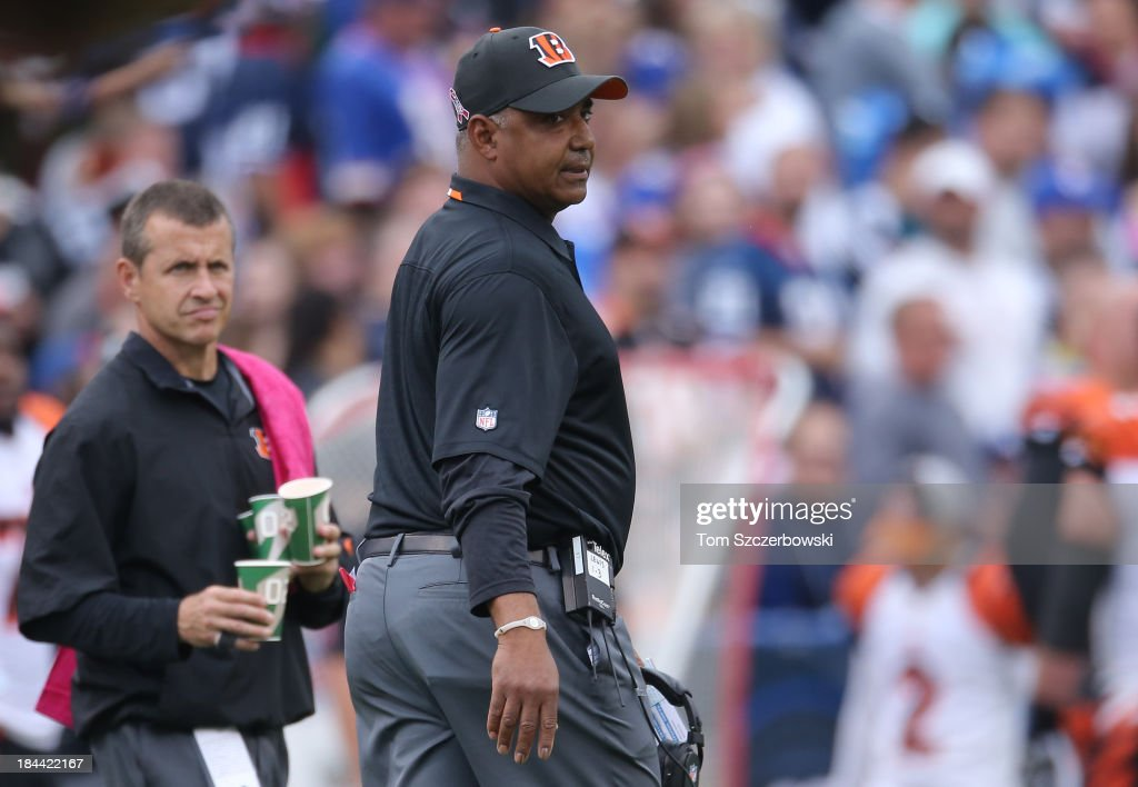 Head coach Marvin Lewis of the Cincinnati Bengals during NFL game action against the Buffalo Bills at Ralph Wilson Stadium on October 13, 2013 in Orchard Park, New York.