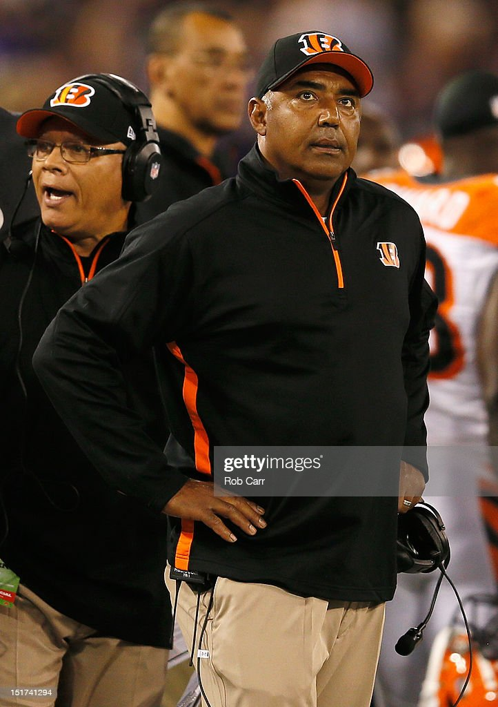 Head coach Marvin Lewis of the Cincinnati Bengals looks on from the sidelines during the second half of their 44-13 loss to the Baltimore Ravens at M&T Bank Stadium on September 10, 2012 in Baltimore, Maryland.