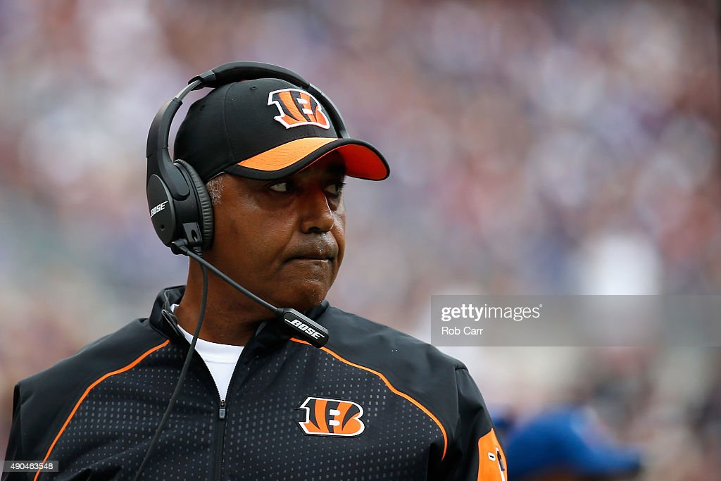 Head coach <a gi-track='captionPersonalityLinkClicked' href=/galleries/search?phrase=Marvin+Lewis+-+Coach&family=editorial&specificpeople=211207 ng-click='$event.stopPropagation()'>Marvin Lewis</a> of the Cincinnati Bengals looks on from the sidelines against the Baltimore Ravens at M&T Bank Stadium on September 27, 2015 in Baltimore, Maryland.