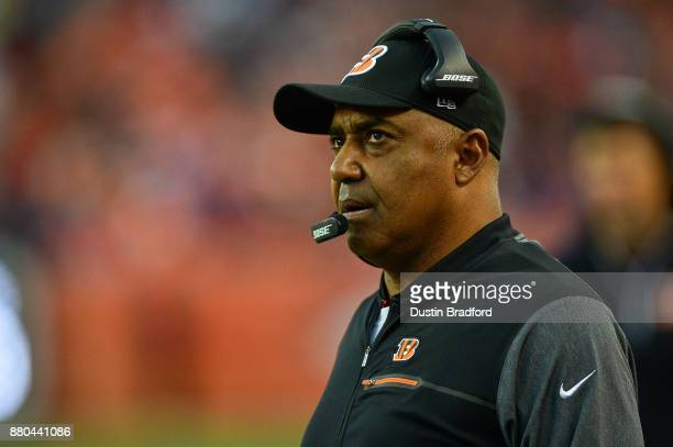 Head coach Marvin Lewis of the Cincinnati Bengals looks on from the sideline during a game against the Denver Broncos at Sports Authority Field at...