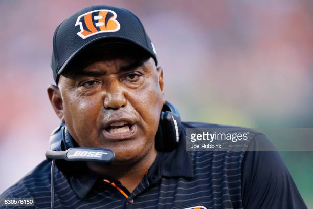 Head coach Marvin Lewis of the Cincinnati Bengals reacts in the second quarter of a preseason game against the Tampa Bay Buccaneers at Paul Brown...
