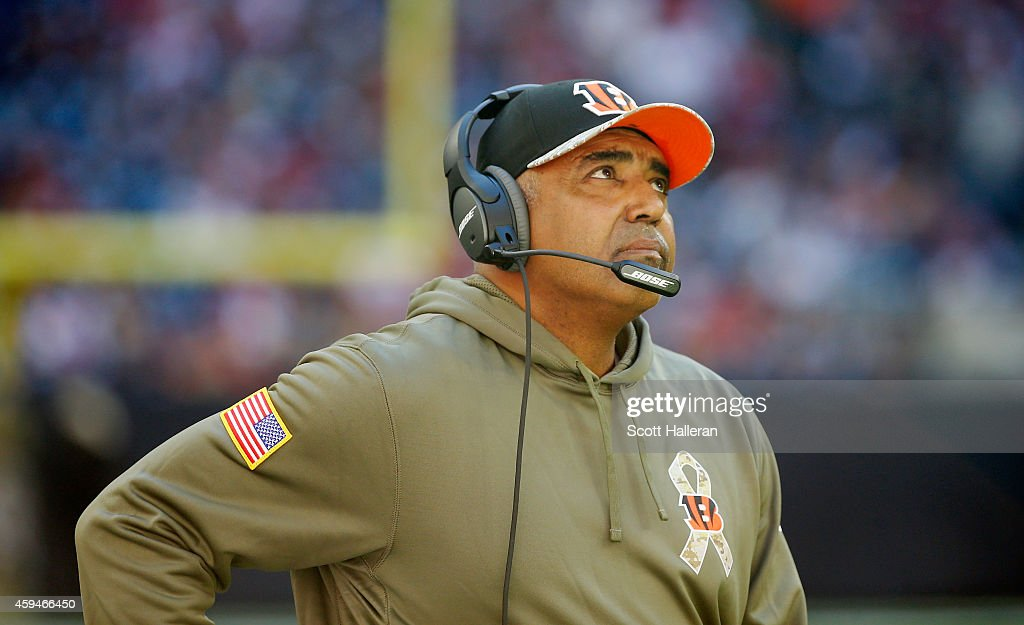 Head coach <a gi-track='captionPersonalityLinkClicked' href=/galleries/search?phrase=Marvin+Lewis+-+Coach&family=editorial&specificpeople=211207 ng-click='$event.stopPropagation()'>Marvin Lewis</a> of the Cincinnati Bengals waits on the sideline in the second half of their game against the Houston Texans at NRG Stadium on November 23, 2014 in Houston, Texas.