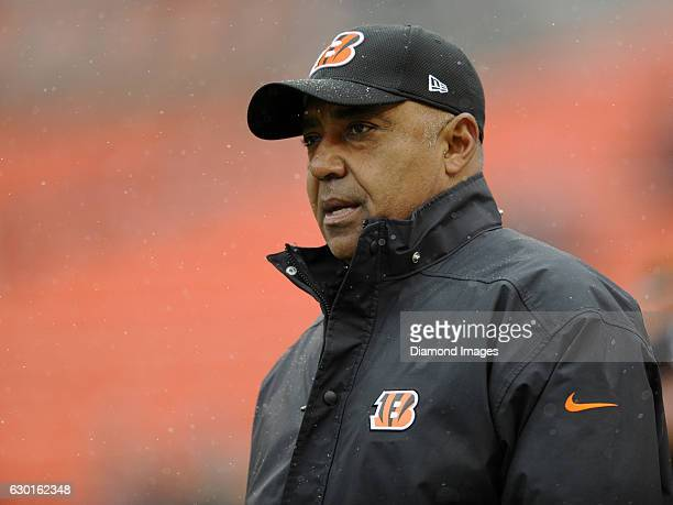 Head coach Marvin Lewis of the Cincinnati Bengals walks onto the field prior to a game against the Cleveland Browns on December 11 2016 at...