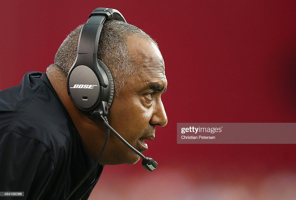 Head coach Marvin Lewis of the Cincinnati Bengals watches a play during the preseason NFL game against the Arizona Cardinals at the University of Phoenix Stadium on August 24, 2014 in Glendale, Arizona.