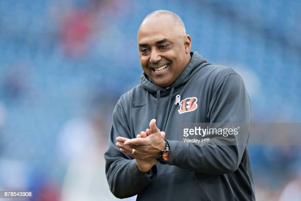 Head Coach Marvin Lewis of the Cincinnati Bengals with his team before a game against the Tennessee Titans at Nissan Stadium on November 12 2017 in...