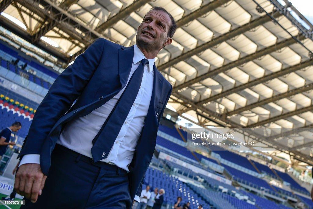 Head coach Massimiliano Allegri during the Juventus Walk Around ahead of the Italian Supercup at Olimpico Stadium on August 12, 2017 in Rome, Italy.