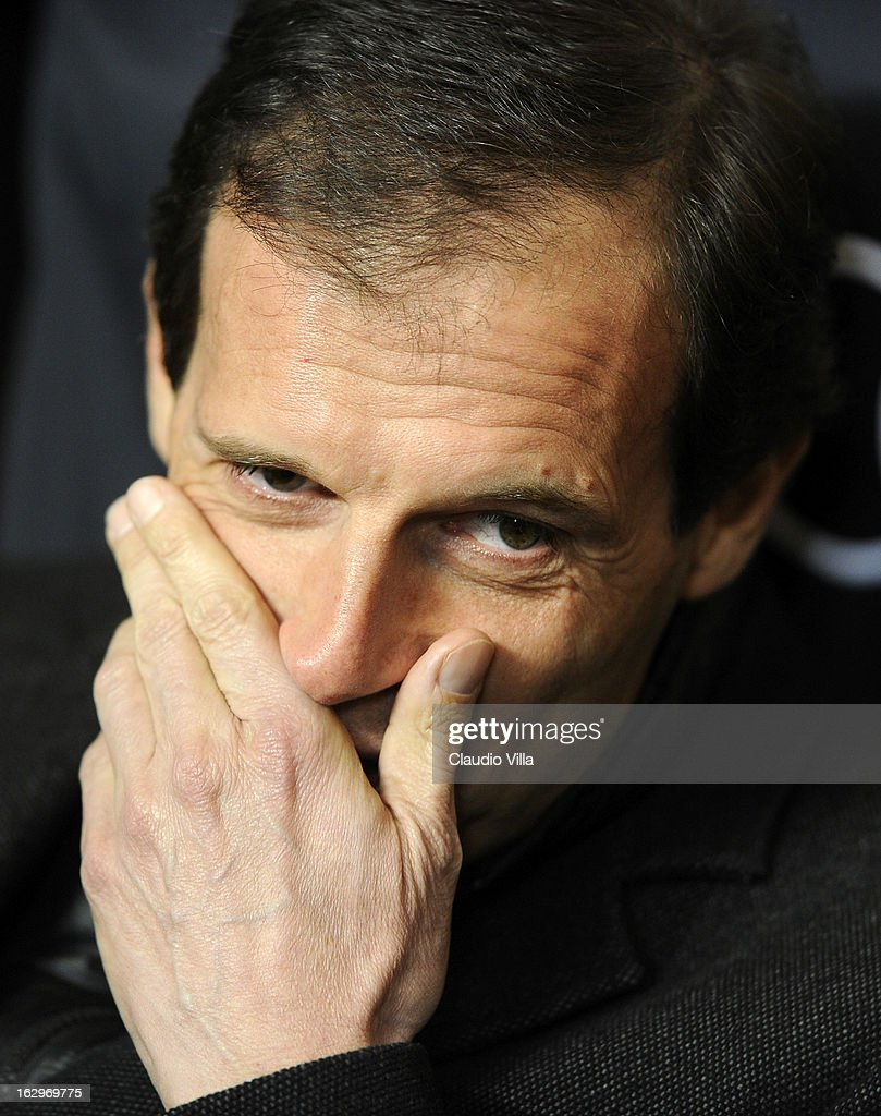 Head coach Massimiliano Allegri during the Serie A match between AC Milan and S.S. Lazio at San Siro Stadium on March 2, 2013 in Milan, Italy.