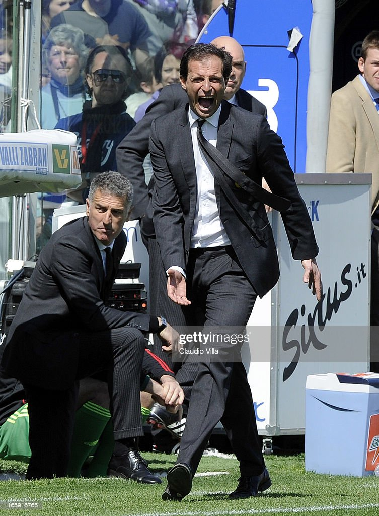 Head coach Massimiliano Allegri of AC Milan reacts during the Serie A match between ACF Fiorentina and AC Milan at Stadio Artemio Franchi on April 7, 2013 in Florence, Italy.