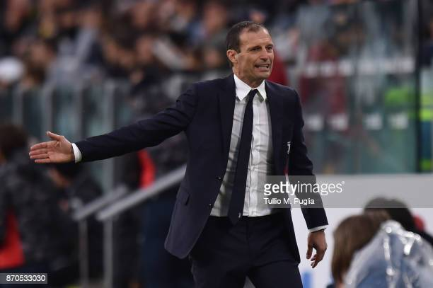 Head coach Massimiliano Allegri of Juventus reacts during the Serie A match between Juventus and Benevento Calcio on November 5 2017 in Turin Italy