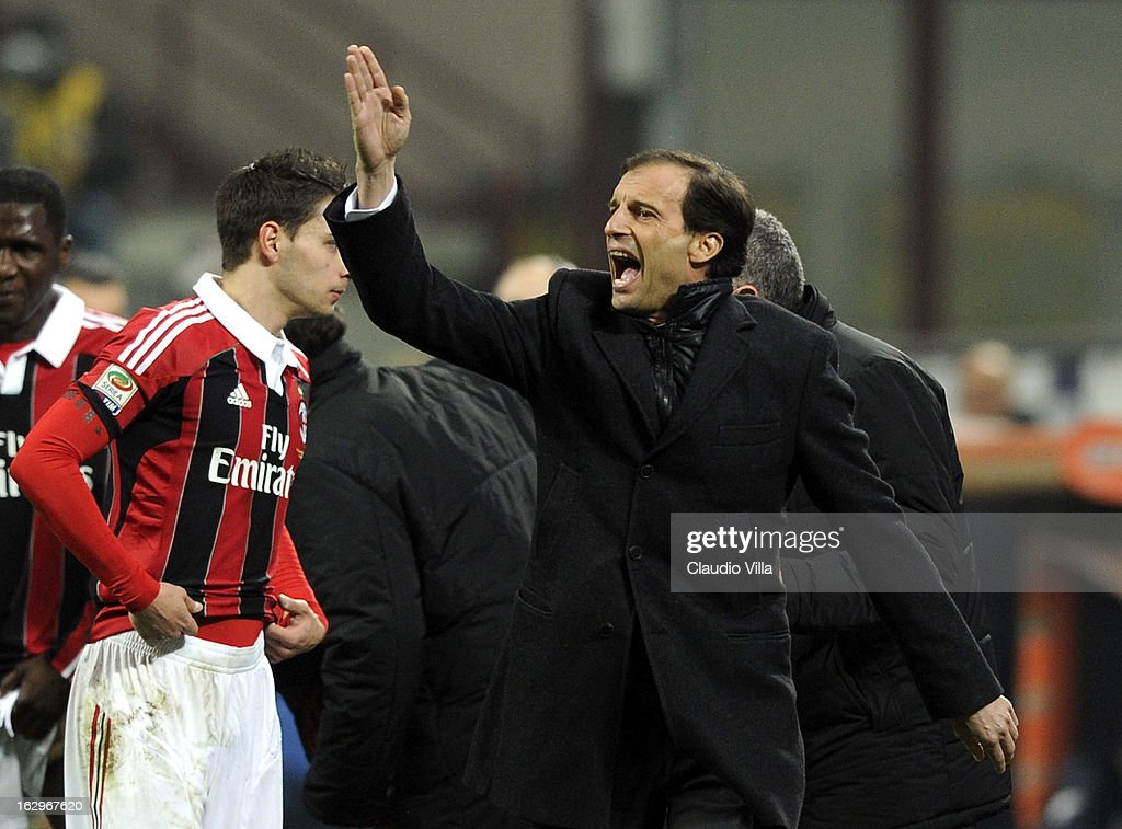 Head coach Massimiliano Allegri reacts during the Serie A match between AC Milan and S.S. Lazio at San Siro Stadium on March 2, 2013 in Milan, Italy.