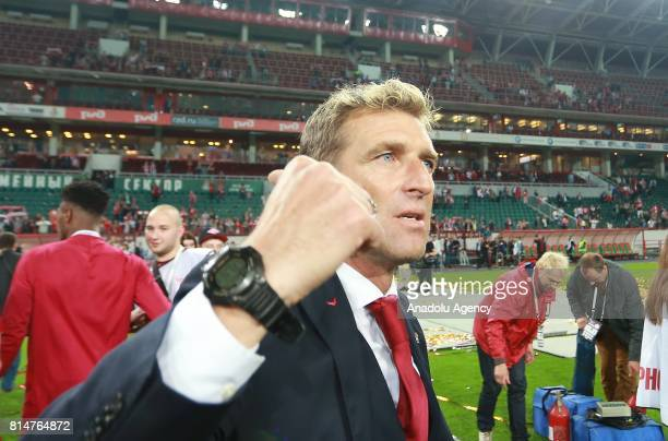 Head coach Massimo Carrera of FC Spartak Moscow celebrates after winning the Super Cup of Russia against FC Lokomotiv Moscow at the Lokomotiv Stadium...