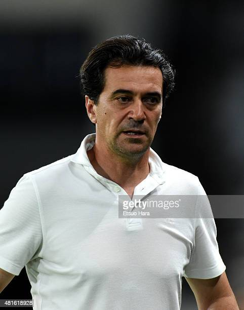 Head coach Massimo Ficcadenti of FC Tokyo looks on during the JLeague match between FC Tokyo and Montedio Yamagata at Ajinomoto Stadium on July 19...