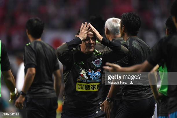 Head coach Massimo Ficcadenti of Sagan Tosu reacts during the JLeague J1 match between Sagan Tosu and Urawa Red Diamonds at Best Amenity Stadium on...