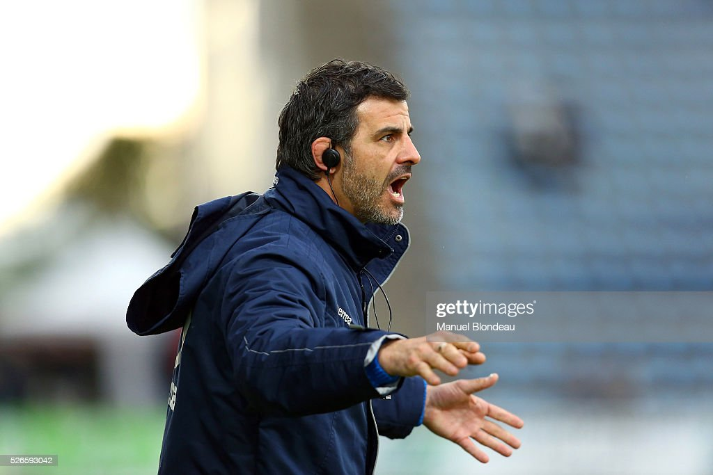 Head Coach Mathieu Blin of Agen during the French Top 14 rugby union match between SU Agen v CA Brive at Stade Armandie on April 30, 2016 in Agen, France.