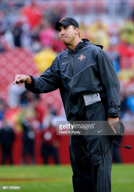 Head coach Matt Campbell of the Iowa State Cyclones coaches from the sidelines in the first half of play against the Kansas Jayhawks at Jack Trice...