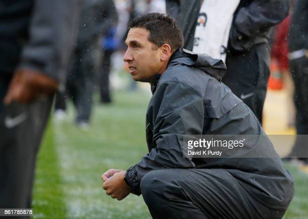 Head coach Matt Campbell of the Iowa State Cyclones looks up on the sidelines during warm ups before game action against the Kansas Jayhawks in the...