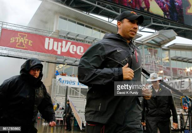 Head coach Matt Campbell of the Iowa State Cyclones takes the field before game action against the Kansas Jayhawks at Jack Trice Stadium on October...