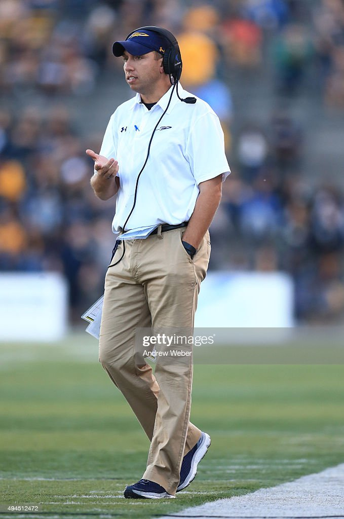 Head coach <a gi-track='captionPersonalityLinkClicked' href=/galleries/search?phrase=Matt+Campbell&family=editorial&specificpeople=2523847 ng-click='$event.stopPropagation()'>Matt Campbell</a> of the Toledo Rockets during the game against the Kent State Golden Flashes at Glass Bowl on October 10, 2015 in Toledo, Ohio.