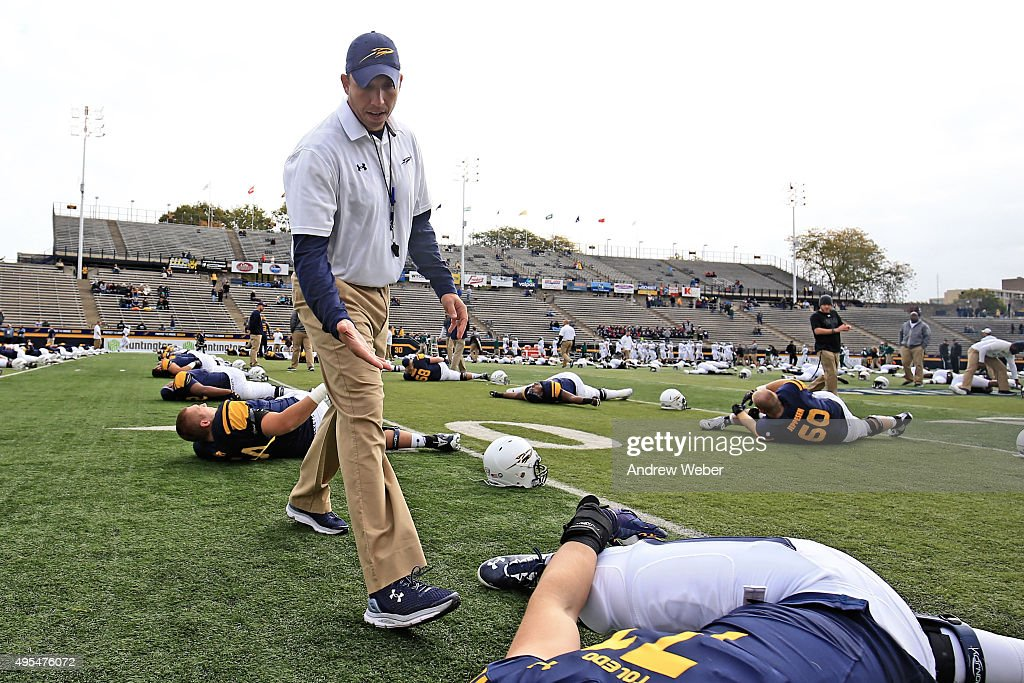 Head Coach <a gi-track='captionPersonalityLinkClicked' href=/galleries/search?phrase=Matt+Campbell&family=editorial&specificpeople=2523847 ng-click='$event.stopPropagation()'>Matt Campbell</a> of the Toledo Rockets prior to the game against the Eastern Michigan Eagles at Glass Bowl on October 17, 2015 in Toledo, Ohio.