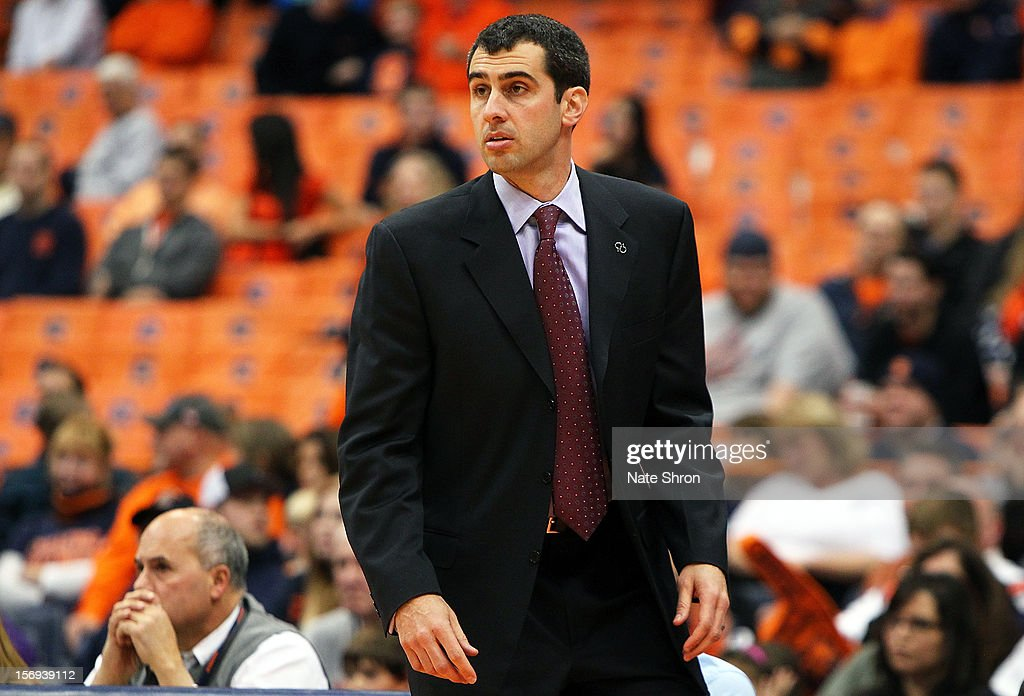Head coach Matt Langel of the Colgate Raiders looks on during the game against the Syracuse Orange at the Carrier Dome on November 25, 2012 in Syracuse, New York.