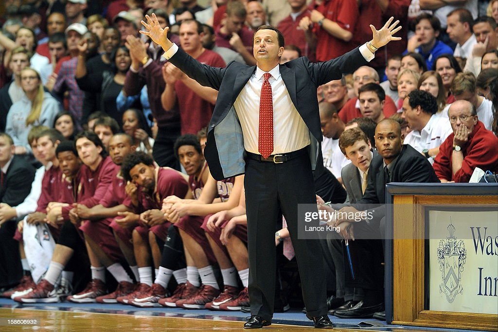 Head Coach Matt Matheny of the Elon Phoenix directs his team against the Duke Blue Devils at Cameron Indoor Stadium on December 20, 2012 in Durham, North Carolina. Duke defeated Elon 76-54.