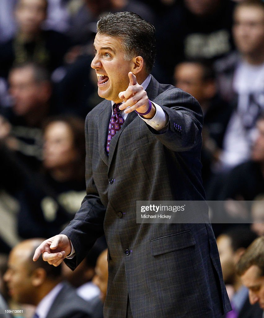Head coach Matt Painter of the Purdue Boilermakers calls out during the game against the Penn State Nittany Lions at Mackey Arena on January 13, 2013 in West Lafayette, Indiana. Purdue defeated Penn State 60-42.