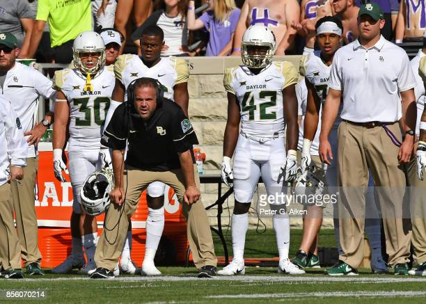 Head coach Matt Rhule of the Baylor Bears looks on from the sideline against the Kansas State Wildcats during the second half on September 30 2017 at...