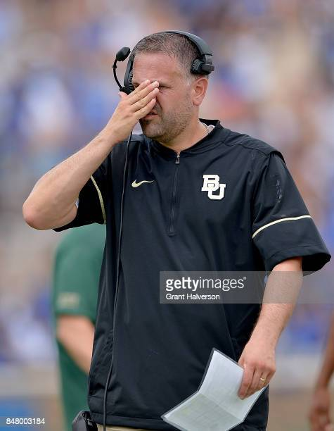 Head coach Matt Rhule of the Baylor Bears reacts during the game against the Duke Blue Devils at Wallace Wade Stadium on September 16 2017 in Durham...