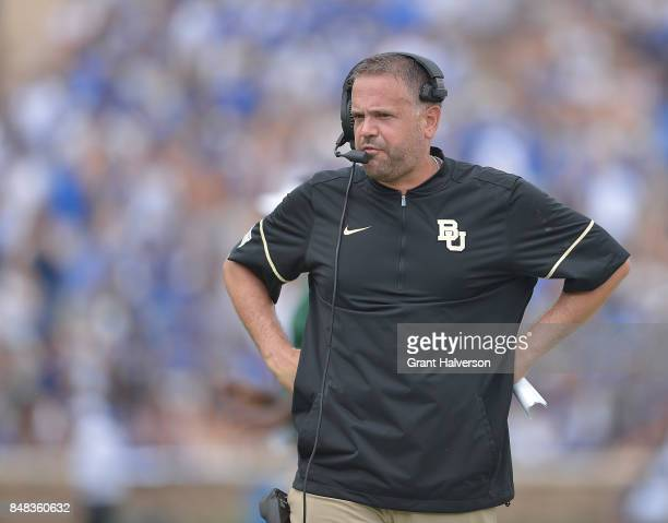 Head coach Matt Rhule of the Baylor Bears watches during the game against the Duke Blue Devils at Wallace Wade Stadium on September 16 2017 in Durham...