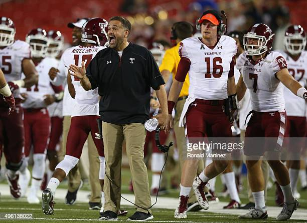 Head coach Matt Rhule of the Temple Owls during play against the Southern Methodist Mustangs in the second half at Gerald J Ford Stadium on November...