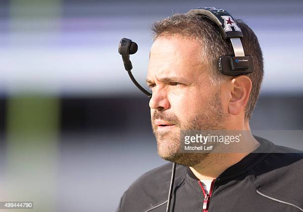 Head coach Matt Rhule of the Temple Owls looks on during the game against the Memphis Tigers on November 21 2015 at Lincoln Financial Field in...