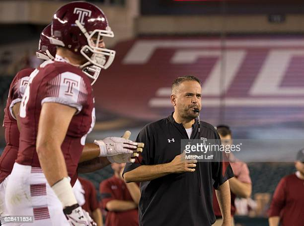 Head coach Matt Rhule of the Temple Owls looks on prior to the game against the South Florida Bulls at Lincoln Financial Field on October 21 2016 in...