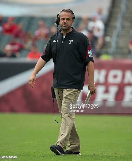 Head coach Matt Rhule of the Temple Owls looks on prior to the game against the Charlotte 49ers at Lincoln Financial Field on September 24 2016 in...