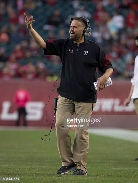 Head coach Matt Rhule of the Temple Owls reacts against the Cincinnati Bearcats at Lincoln Financial Field on October 29 2016 in Philadelphia...