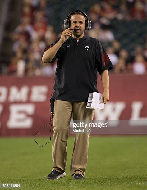 Head coach Matt Rhule of the Temple Owls reacts against the South Florida Bulls at Lincoln Financial Field on October 21 2016 in Philadelphia...