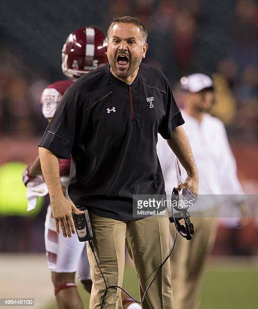 Head coach Matt Rhule of the Temple Owls reacts during the game against the Connecticut Huskies on November 28 2015 at Lincoln Financial Field in...