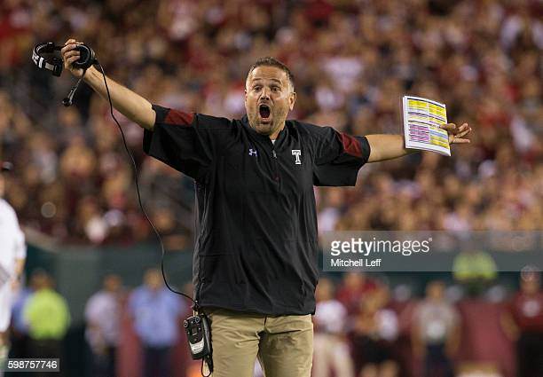 Head coach Matt Rhule of the Temple Owls reacts during the game against the Army Black Knights at Lincoln Financial Field on September 2 2016 in...