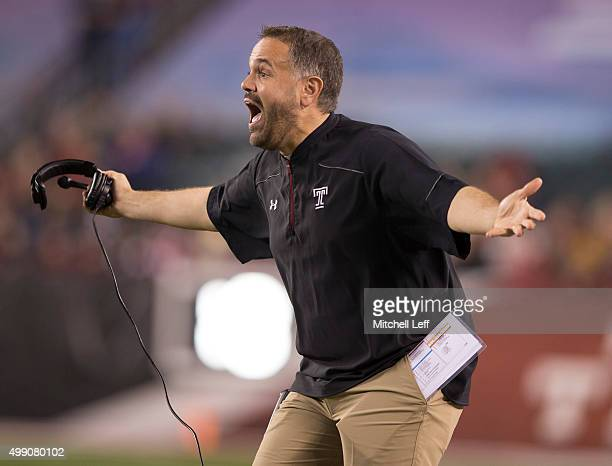 Head coach Matt Rhule of the Temple Owls reacts in the game against the Connecticut Huskies on November 28 2015 at Lincoln Financial Field in...
