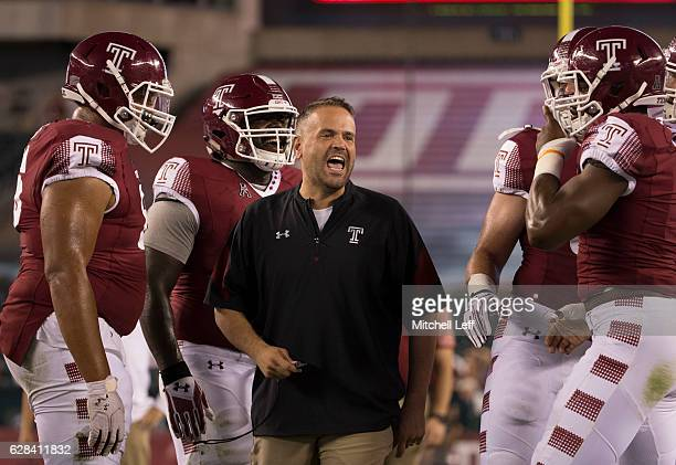 Head coach Matt Rhule of the Temple Owls yells to his team prior to the game against the South Florida Bulls at Lincoln Financial Field on October 21...
