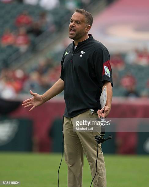 Head coach Matt Rhule reacts against the Charlotte 49ers at Lincoln Financial Field on September 24 2016 in Philadelphia Pennsylvania