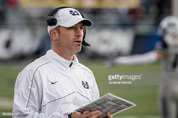 Head coach Matt Wells of the Utah State Aggies watches a play against the Nevada Wolf Pack at Mackay Stadium on November 19 2016 in Reno Nevada