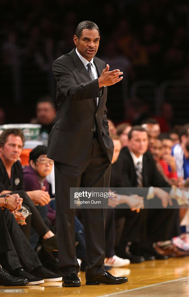 Head coach <a gi-track='captionPersonalityLinkClicked' href=/galleries/search?phrase=Maurice+Cheeks&family=editorial&specificpeople=209376 ng-click='$event.stopPropagation()'>Maurice Cheeks</a> of the Detroit Pistons gestures during the game with the Los Angeles Lakers at Staples Center on November 17, 2013 in Los Angeles, California.