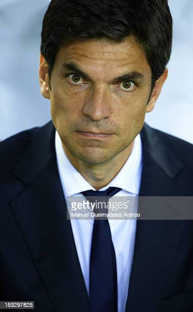 Head coach Mauricio Pellegrino of Valencia looks on from the bench during the UEFA Champions League group F match between Valencia CF and LOSC Lille...