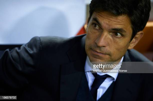 Head coach Mauricio Pellegrino of Valencia looks on from the bench during the UEFA Champions League group F match between Valencia CF and FC BATE...