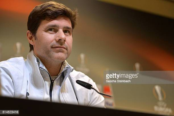 Head coach Mauricio Pochettino attends the Tottenham Hotspur FC press conference prior to the UEFA Europa League match between Borussia Dortmund and...