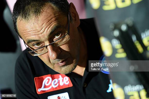 Head Coach Maurizio Sarri of Napoli looks on during the Serie a match between US Citta di Palermo and SSC Napoli at Stadio Renzo Barbera on September...
